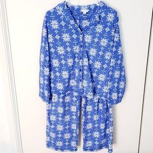 Charter Club snowflake fleece long sleeve pajamas